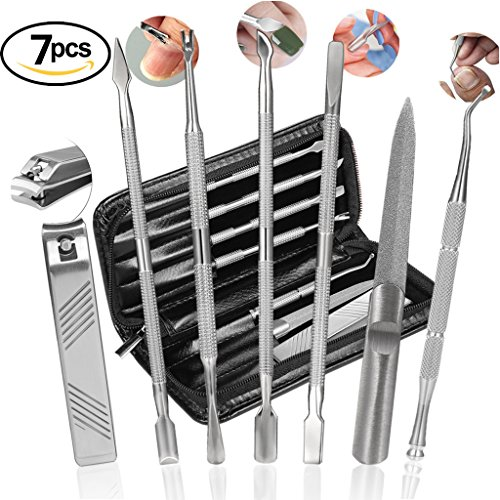 Pusher Set (Cuticle Pusher Set Nail Polish Cuticle Remover Manicure Pedicure Tool Stainless Steel Push Stick Nail Lifter Travel Hygiene Kit with Zipper Case by BUVE(7pcs, Black))