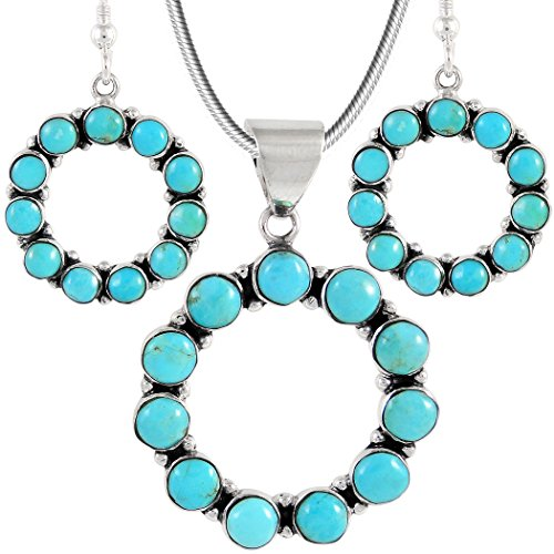 Genuine Turquoise Matching Set in Sterling Silver (Pendant, Earrings, 20