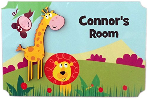 (Rikki Knight Connor's Room - 3D Giraffe on Jungle - Door Sign Plaque with Name for Children and Baby's Bedroom)