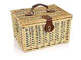 Picknickkorb-aus-Weidengeflecht-fr-2-Personen-mit-Tragegurt-6-teiliges-Set-beeinhaltet-Weinglser-aus-Glas-Praktische-Transportsicherung-Ihrer-Wein-Wasserflaschen-an-der-Innenseite
