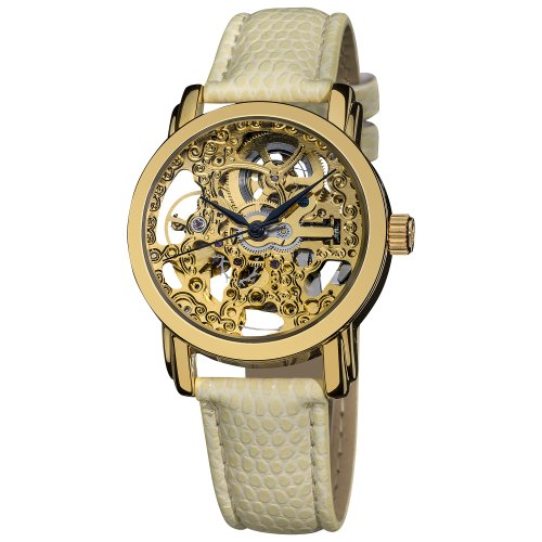 Akribos XXIV Women's AKR431YG Gold Swiss Automatic Skeleton Watch ()