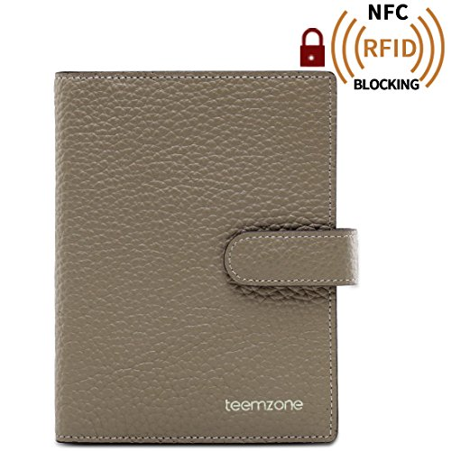 Teemzone Men Women Credit Card Case Business Id Card Holder Genuine Leather (K828-Khaki)
