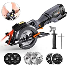 "Circular Saw with Metal Handle, 4-3/4"", 5.8A, Laser Guide, Max Cutting Depth 1-9/10'' (90°), 1-3/10'' (0°-45°), 6 Blades, Ideal for Wood, Metal, Tile and Plastics Cuts - Tacklife TCS115A"