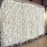 MZD8391 Fairy Curtain Lights, 9.8ft×9.8ft 304 led 8 Modes 24V Low Voltage Window Icicle Fairy Lights for Valentines Day Decoration/Gifts, Home, Garden, Wedding, Party, Photo Booth (White)