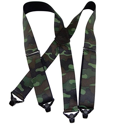 (HoldUp Suspender Company's Woodland Camouflage pattern Hunting X-back Suspenders with Patented Gripper Clasps)