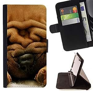 Stuss Case / Funda Carcasa PU de Cuero - Shar-Pei piel del perro de Brown - MOTOROLA MOTO X PLAY XT1562