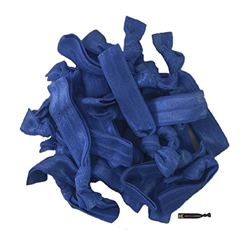 (Hair Ties 20 Elastics Ponytail Holder Set No Crease Ribbon Bands (Navy))