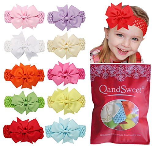 Price comparison product image QandSweet Baby Girl Headbands Fishtail Bowknot (10 Pack)