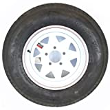 14'' White Spoke with Red and Blue Pin Stripe Trailer Wheel with Bias AllStar ST20575D14C Tire Mounted (5-4.5'' Bolt Circle)