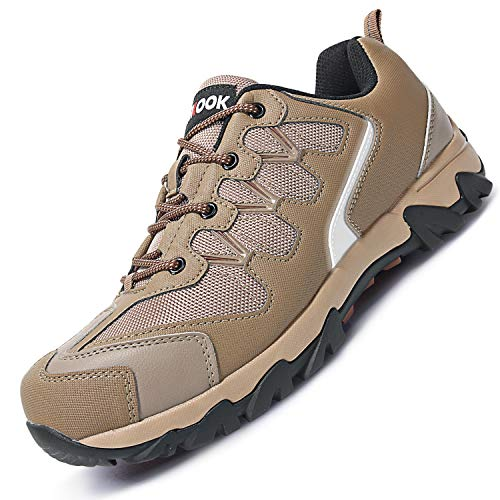 Fires Mens Steel Toe Shoes Anti-Piercing Work Lace-up Sneaker Brown 12 M ()