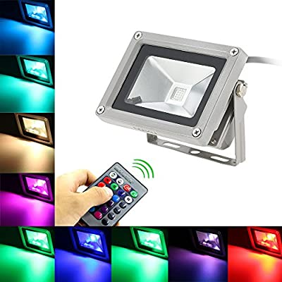 Lixada 10W RGB LED Flood Lights, Outdoor Color Changing LED Security Light, 16 Colors & 4 Modes with Remote Control, Wall Washer Light, IP65 Waterproof Landscape Lamp for Garden, Yard, Warehouse