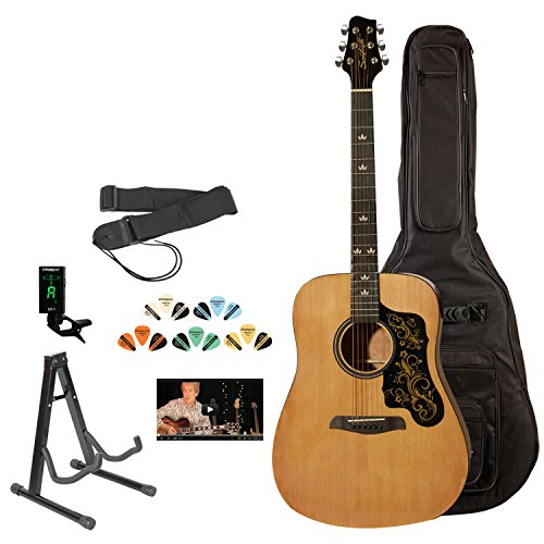 Sawtooth ST-ADN-D-KIT-3 Acoustic Guitar with Black Pickguard w/ Custom Graphic - Includes Accessories, Gig Bag & Online Lesson