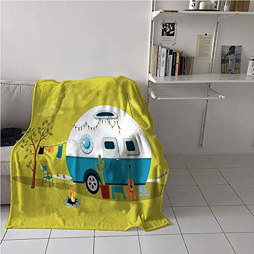 Suchashome Camping Lightweight Blanket,Parked Trailer with Guitar Cactus Laundry and Fire Pit Road Trip,Print Summer Quilt Comforter,Blanket for Sofa Couch Bed 60