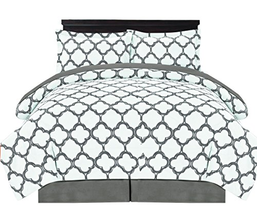 Couture Home Collection Premium Quality Ultra Soft Reversible Fretwork Print Elegant Comforter Bed in Bag 8 piece Set with Alternative Pillow shams and Pillowcases Grey, Queen