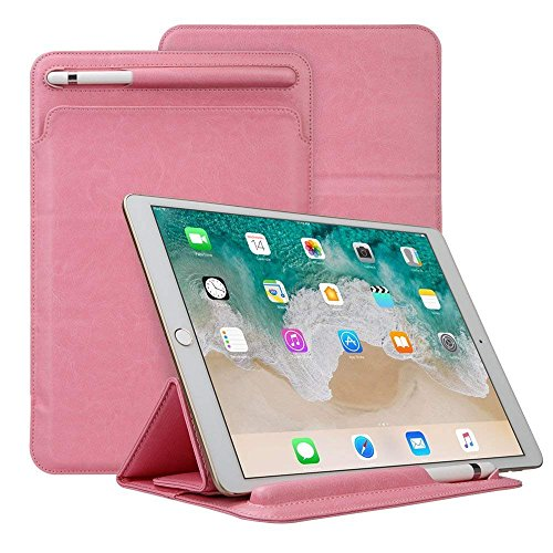 Price comparison product image iPad Pro 10.5 Sleeve Case, Portable Elegant PU Leather Protective Cover with Pencil Holder Ultra Slim Smart Case iPad Pro 10.5, Pink