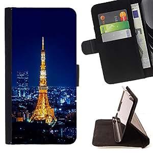 - EIFFEL TOWER PARI - TOUR EIFFEL - - Prima caja de la PU billetera de cuero con ranuras para tarjetas, efectivo desmontable correa para l Funny HouseFOR Samsung Galaxy S6
