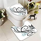 VROSELV 2 Piece Toilet lid cover mat set Lets Go to the Hawaii at Tropical with Walking Flamingos Blue Washable Non-Slip
