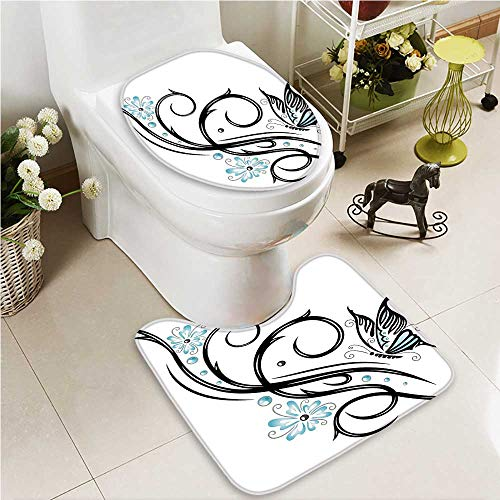 VROSELV 2 Piece Toilet lid cover mat set Lets Go to the Hawaii at Tropical with Walking Flamingos Blue Washable Non-Slip by VROSELV
