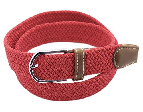 BONAMART ® Women Men Unisex Web Belt Stretch Elastic Braided Canvas Fabric with Metal Buckle 105CM