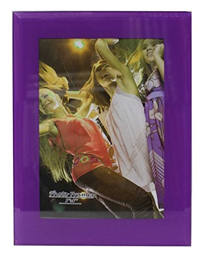 Party Plus 4 Less Modern Collection Glass Picture Frame Size 5 X 7 (Purple) (1pk) Stand Vertical Or Horizontal