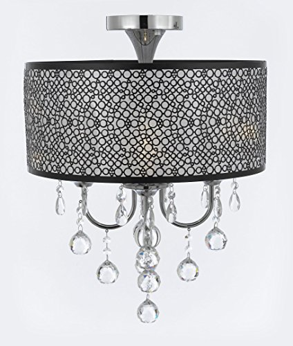 Bubble Shade Chrome Flushmount Chandelier with Faceted Crystal Balls 4 Lights Pendant