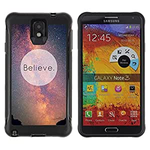 All-Round híbrido Heavy Duty de goma duro caso cubierta protectora Accesorio Generación-II BY RAYDREAMMM - Samsung Galaxy Note 3 - Believe Universe Milky Way Cosmos Inspiring