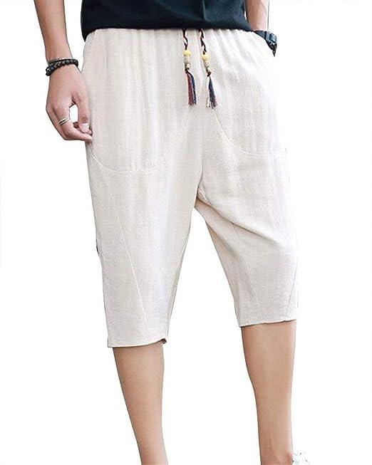 BOLAWOO Pantalones para Hombres Pantalones Cortos De Pantalones Sueltos De  Verano Ocio Color Mode De Marca Sólido Oversize 3 4 Pantalones Capri  Bolsillos ... 7350d8d917a5