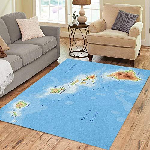 Pinbeam Area Rug Island High Detailed Hawaii Physical Map Labeling Hawaiian Home Decor Floor Rug 3' x 5' Carpet -