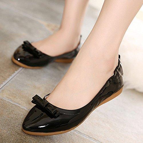 ... Closed Femme Ballerines Toe Respirante Décoration Pu Mineroad Chaussures  Plat Bowknot Camaïeu Noir Mode F8wq6xd ... 1b0f82b4c2eb