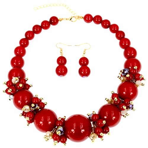 Comelyjewel Fashion Jewelry Lady Simulated Pearl Beaded Collar Women Necklace and Earrings Set (Metallic -