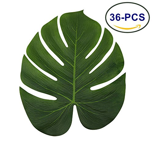 LJDJ Tropical Leaves Palm - Set of 36 - Large 13.8 Inch Artificial Silk Fabric Monstera Decoration Leaf - Hawaiian Luau Safari Jungle Beach Theme Party Supplies Table Decor Accessories (Pool Party Accessories)
