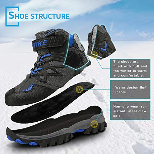 Littleplum Kid Snow Boots for Boys Snow Shoes Winter Boots for Girl Sneaker Hiking Boots Outdoor Steel Buckle Anti-Slip Boots(Toddler/Little Kid/Big Kid)