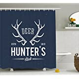 Hunting Decor Shower Curtain by Ambesonne, Deer Hunter's Club Logo Design with Antlers Retro Typography Shabby Icon, Fabric Bathroom Decor Set with Hooks, 75 Inches Long, Navy Blue White