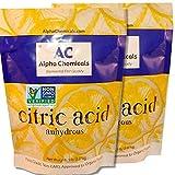 Non-GMO Project Verified Citric Acid - 10 Pounds (2-5 lb bags) - Organic, 100% Pure - Alpha Chemicals