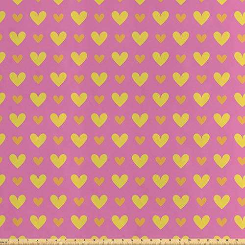 Lunarable Modern Fabric by The Yard, Mixed Motifs with Hearts Blossoms Linked Circle Cute Girls Kids Design, Decorative Satin Fabric for Home Textiles and Crafts, 10 Yards, Orange Yellow Baby -
