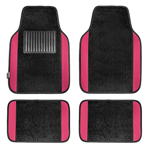 (FH Group F14407PINK Premium Full Set Carpet Floor Mat (Sedan and SUV with Driver Heel Pad Pink))