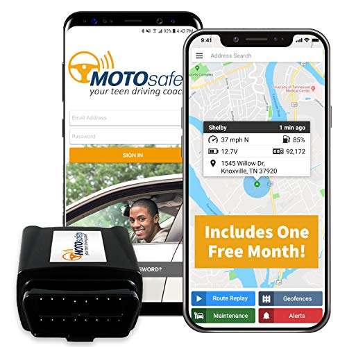 MotoSafety OBD GPS Vehicle Tracker Device with Phone App, One Month of Service Included