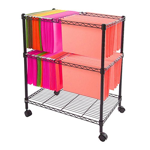 Mobile File Organizer Office Documents Rolling Utility Cart Metal Wire 2 Shelf Metal Frame Portable Adjustable Shelf 4 Swivel Casters Home Office Indoor Mobile Storage Furniture & eBook by BADA shop by BS