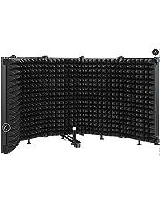 Pantalla de micrófono plegable que absorbe el sonido, panel de grabación vocal, aislamiento acústico portátil, escudo de micrófono para grabación de sonido, estudio, podcasts, canto y difusión – Bomaite W89, negro