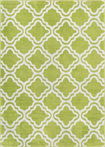 Well Woven 09457 StarBright Calipso Modern Geometric Trellis Green 7'10