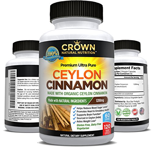 Ceylon Cinnamon, Organic Cinnamon Capsules 1200mg per Serving, 120 Count - Healthy Blood Sugar Support, Healthy Heart Support, Anti Inflammatory & Antioxidant, Digestive Support, Joint Support