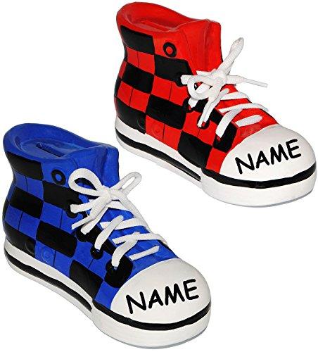 """2 Stück _ Sparschweine - """" Schuhe Sneaker / Sportschuh """" - mit echten Schnürsenkel ! - stabile Sparbüchse aus Porzellan / Keramik - 3-D Effekt - für Kinder & Erwachsene / Jungen Mädchen - Sport / Spor"""