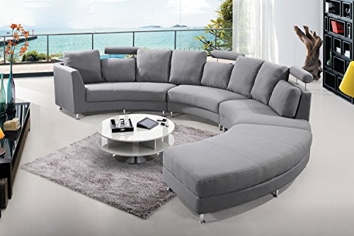 Velago Rossini Dark Grey Modern Design Circular Sectional Sofa | Large Half Round Fabric Upholstered Curved Couch, 176 x ()