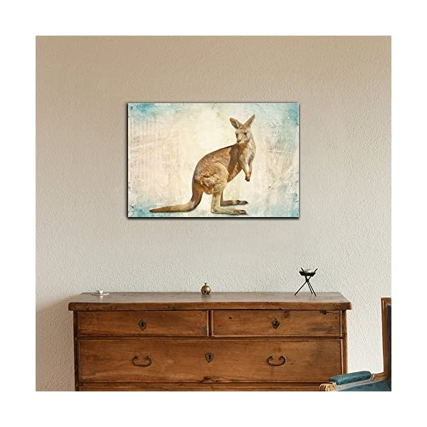 Wall26 - Wild Animal Canvas Wall Art - Kangaroo On Abstract Background - Gallery Wrap Modern Home Decor   Ready To Hang - 12X18 Inches -