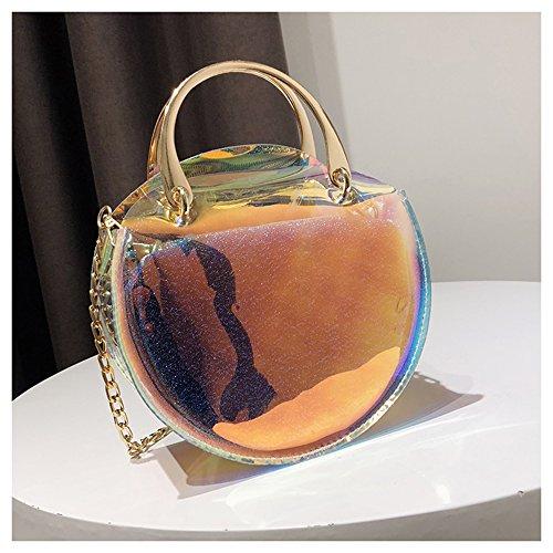 Women's Laser Shining 2-in-1 Crossbody bag Transparent Handbag Clear Handbag Messenger Shoulder Bag 2 Bags Waterproof Purse (multicolor)