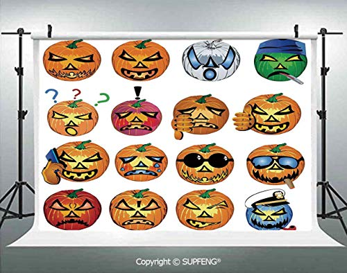 Photography Background Carved Pumpkin with Emoji Faces Halloween Humor Hipster Monsters Art 3D Backdrops for Photography Backdrop Photo Background Studio -