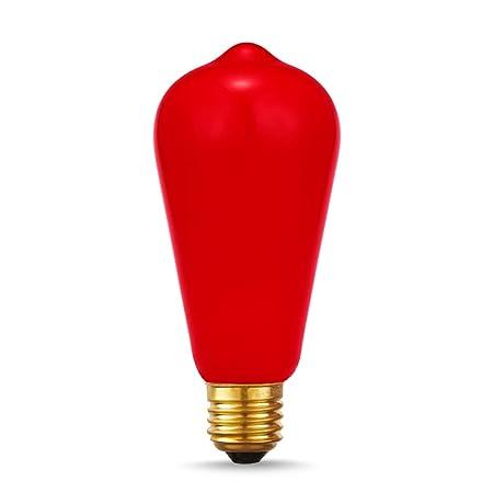 DORESshop E26 - Bombilla de luz roja (40 W, filamento vintage, Edison, bombilla Edison no regulable, ST64, estilo antiguo, casquillo E26, casquillo de ...