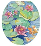 Toilet Tattoos TT-1029-R Lily Pads Design Toilet Seat Applique, Round