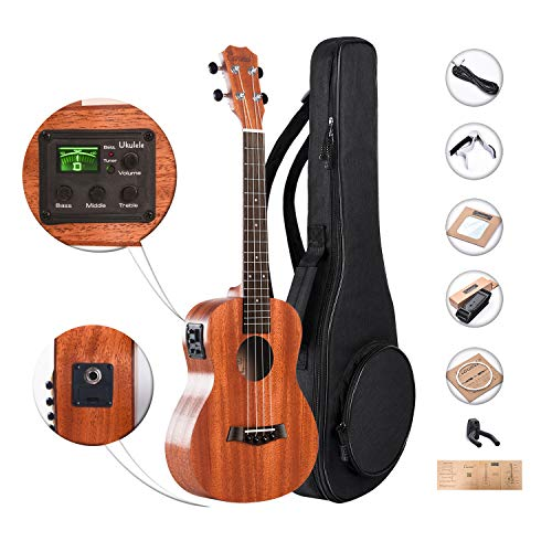 (Caramel CT402 All Solid Mahogany Tenor Acoustic & Electric Ukulele with Truss Rod with Aquila Strings, Padded Gig Bag, Strap and Wall Hanger)