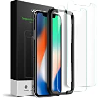 UGREEN 2 Pack iPhone X,Xs Screen Protector 3D Touch iPhone X,Xs Screen Tempered Glass for 5.8 Inch OLED Screen with Installation Tool,9H Hardness Support Shockproof,Anti-Scratch